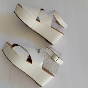 QUPID White Platform Sandal, Size 7.5